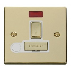 Click Deco Victorian Polished Brass 13A Fused Ingot Switched Connection Unit With Flex Outlet with Neon with White Insert