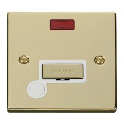 Click Deco Victorian Polished Brass 13A Fused Ingot Connection Unit With Flex Outlet with Neon with White Insert
