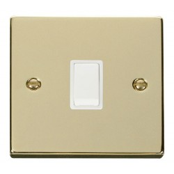 Click Deco Victorian Polished Brass 20A 1 Gang Double Pole Switch with White Insert