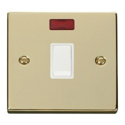 Click Deco Victorian Polished Brass 20A 1 Gang Double Pole Switch with Neon with White Insert