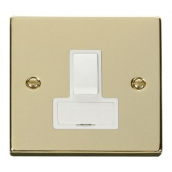 Click Deco Victorian Polished Brass 13A Fused Switched Connection Unit with White Insert