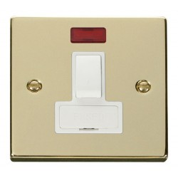 Click Deco Victorian Polished Brass 13A Fused Switched Connection Unit With Neon with White Insert