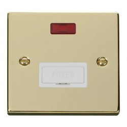 Click Deco Victorian Polished Brass 13A Fused Connection Unit With Neon with White Insert