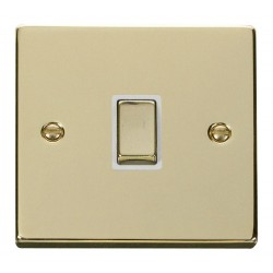 Click Deco Victorian Polished Brass 20A 1 Gang Double Pole Ingot Switch with White Insert