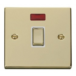 Click Deco Victorian Polished Brass 20A 1 Gang Double Pole Ingot Switch with Neon with White Insert