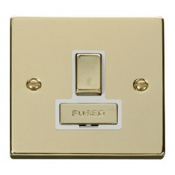 Click Deco Victorian Polished Brass 13A Fused Ingot Switched Connection Unit with White Insert