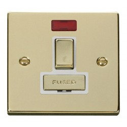 Click Deco Victorian Polished Brass 13A Fused Ingot Switched Connection Unit With Neon with White Insert