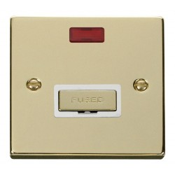 Click Deco Victorian Polished Brass 13A Fused Ingot Connection Unit With Neon with White Insert