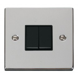 Click Deco Victorian Polished Chrome 2 Gang 2 Way 10AX Switch with Black Insert