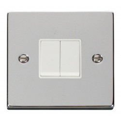 Click Deco Victorian Polished Chrome 2 Gang 2 Way 10AX Switch with White Insert