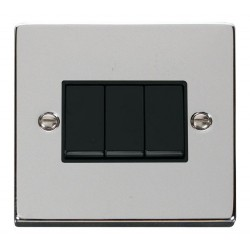 Click Deco Victorian Polished Chrome 3 Gang 2 Way 10AX Switch with Black Insert