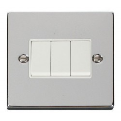 Click Deco Victorian Polished Chrome 3 Gang 2 Way 10AX Switch with White Insert
