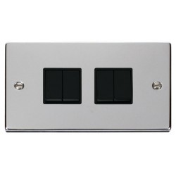 Click Deco Victorian Polished Chrome 4 Gang 2 Way 10AX Switch with Black Insert