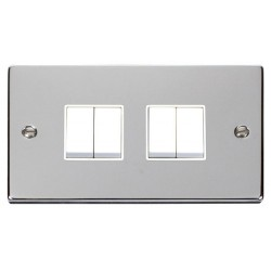 Click Deco Victorian Polished Chrome 4 Gang 2 Way 10AX Switch with White Insert