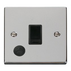 Click Deco Victorian Polished Chrome 20A 1 Gang Double Pole Switch With Flex Outlet with Black Insert