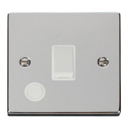 Click Deco Victorian Polished Chrome 20A 1 Gang Double Pole Switch With Flex Outlet with White Insert