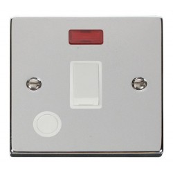 Click Deco Victorian Polished Chrome 20A 1 Gang Double Pole Switch With Flex Outlet And Neon with White Insert