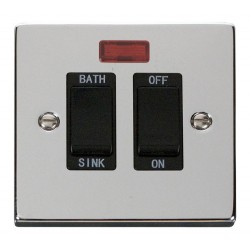 Click Deco Victorian Polished Chrome 20A Double Pole Sink/Bath Switch with Black Insert
