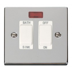 Click Deco Victorian Polished Chrome 20A Double Pole Sink/Bath Switch with White Insert