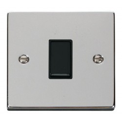 Click Deco Victorian Polished Chrome 1 Gang Intermediate 10AX Switch with Black Insert