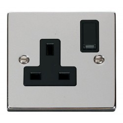Click Deco Victorian Polished Chrome 1 Gang 13A Double Pole Switched Socket Outlet with Black Insert