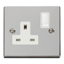 Click Deco Victorian Polished Chrome 1 Gang 13A Double Pole Switched Socket Outlet with White Insert