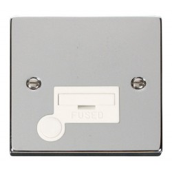 Click Deco Victorian Polished Chrome 13A Fused Connection Unit With Flex Outlet with White Insert