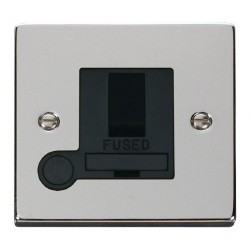 Click Deco Victorian Polished Chrome 13A Fused Switched Connection Unit With Flex Outlet with Black Inser...