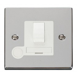 Click Deco Victorian Polished Chrome 13A Fused Switched Connection Unit With Flex Outlet with White Insert