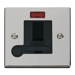 Click Deco Victorian Polished Chrome 13A Fused Switched Connection Unit With Flex Outlet with Neon with B...
