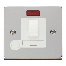 Click Deco Victorian Polished Chrome 13A Fused Switched Connection Unit With Flex Outlet with Neon with White Insert