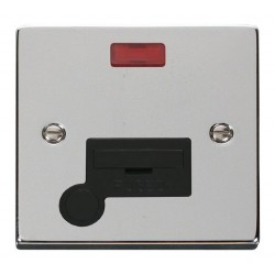 Click Deco Victorian Polished Chrome 13A Fused Connection Unit With Flex Outlet with Neon with Black Inse...