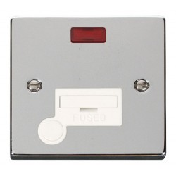 Click Deco Victorian Polished Chrome 13A Fused Connection Unit With Flex Outlet with Neon with White Insert