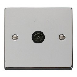Click Deco Victorian Polished Chrome Single Coaxial Socket Outlet with Black Insert