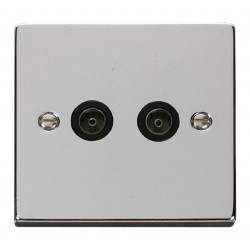 Click Deco Victorian Polished Chrome Twin Coaxial Socket Outlet with Black Insert