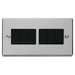 Click Deco Victorian Polished Chrome 6 Gang 2 Way 10AX Switch with Black Insert