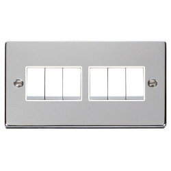Click Deco Victorian Polished Chrome 6 Gang 2 Way 10AX Switch with White Insert