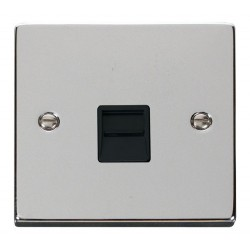 Click Deco Victorian Polished Chrome Single Telephone Socket Outlet Master with Black Insert