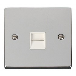 Click Deco Victorian Polished Chrome Single Telephone Socket Outlet Master with White Insert
