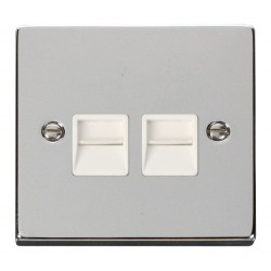 Click Deco Victorian Polished Chrome Twin Telephone Socket Outlet Secondary with White Insert
