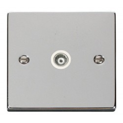 Click Deco Victorian Polished Chrome Single Isolated Coaxial Socket Outlet with White Insert