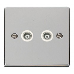 Click Deco Victorian Polished Chrome Twin Isolated Coaxial Socket Outlet with White Insert