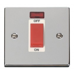 Click Deco Victorian Polished Chrome 1 Gang 45A Double Pole Switch With Neon with White Insert