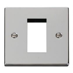 Click Deco Victorian Polished Chrome Single Plate Single Media Module Aperture