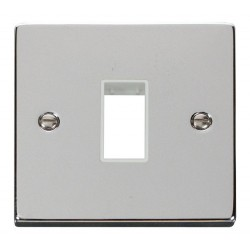 Click Deco Victorian Polished Chrome 1 Gang Plate Single Aperture with White Insert
