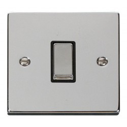 Click Deco Victorian Polished Chrome 1 Gang 2 Way Ingot 10AX Switch with Black Insert