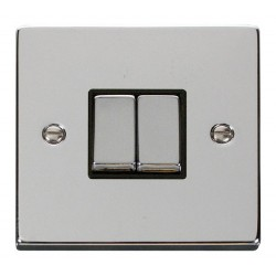Click Deco Victorian Polished Chrome 2 Gang 2 Way Ingot 10AX Switch with Black Insert