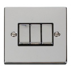 Click Deco Victorian Polished Chrome 3 Gang 2 Way Ingot 10AX Switch with Black Insert