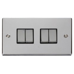 Click Deco Victorian Polished Chrome 4 Gang 2 Way Ingot 10AX Switch with Black Insert