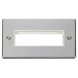 Click Deco Victorian Polished Chrome 2 Gang Plate 6 In-Line Aperture with White Insert